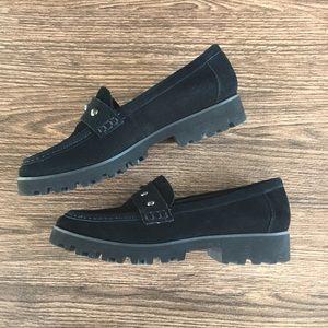 Donal J Pliner Black Studded Suede Loafers